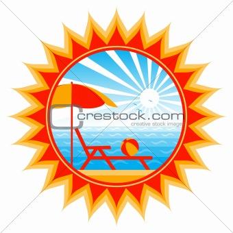 beach scene in sun