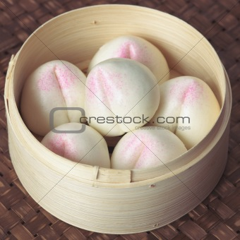 asian peach buns