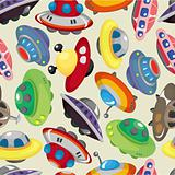 cartoon ufo spaceship seamless pattern