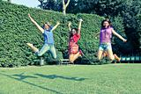 Happy Teenage Female Friends Jumping