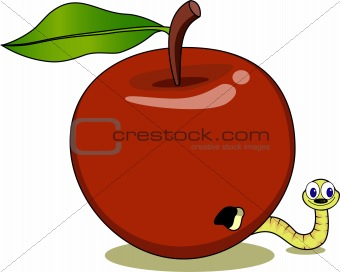 Maggot in the red apple