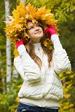 Woman in maple wreath 