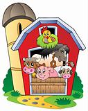Barn with various farm animals