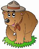 Cartoon happy scout bear