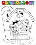Coloring book with barn and animals