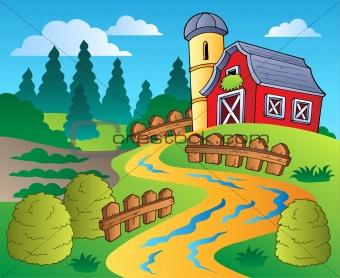 Country scene with red barn 4