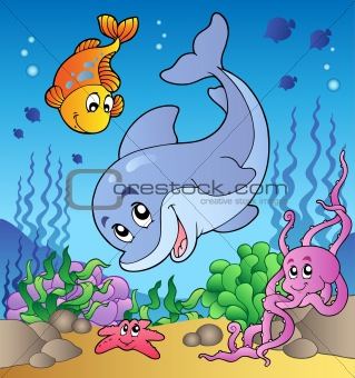 Various cute animals at sea bottom