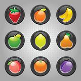 Fruits button black, web 2.0 icons