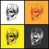 Set of doodle skulls.