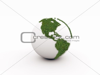 green earth isolated on white background
