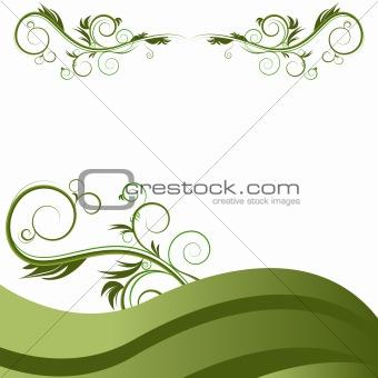 Green Wave Vine Flourishes Background
