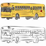 School Bus Line Drawing