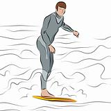 Man Surfing on Surfboard Line Drawing