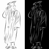 Graduation Gown Line Drawing