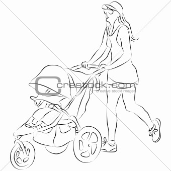 Mom Pushing Baby Stroller