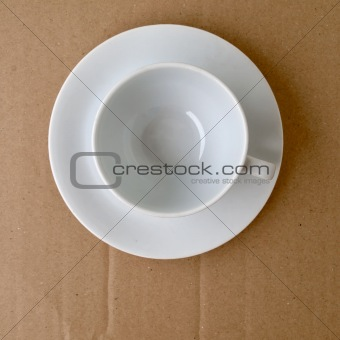 Top view of empty white ceramic coffee cup