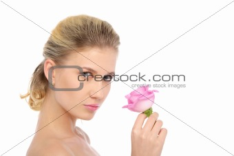 Beautiful blonde with pink rose