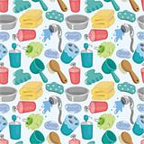 cartoon Bathroom Equipment seamless pattern
