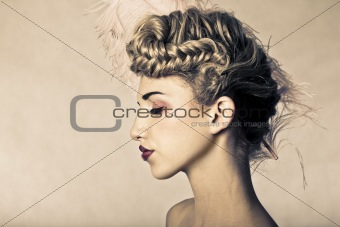 Beauty shot of blond fashion model