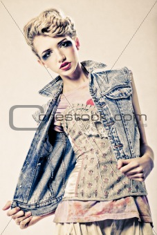 Beautiful blond fashion model studio shot