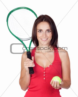 Beautiful brunette girl with tennis racket