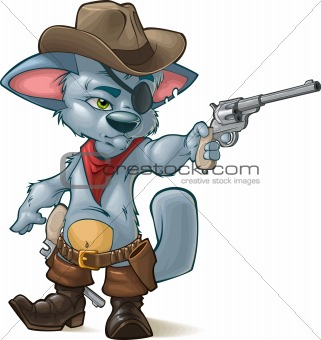 cute kitten playing cowboys