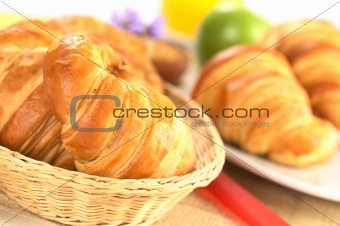 Fresh Croissants in Bread Basket