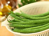Fresh Raw Green Beans in Strainer