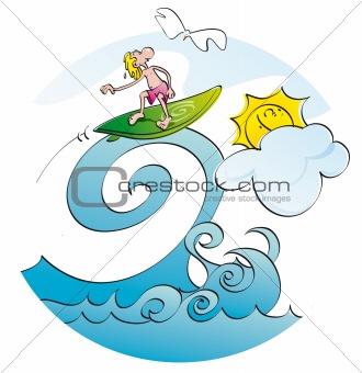 funny surfer on a wave