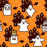 Halloween Castle Ghost Pattern