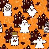 Halloween Castle Ghost Pattern