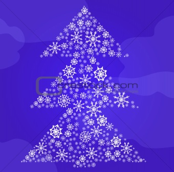 fir-tree made of snowflakes