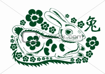 green rabbit with flowers