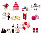 cartoon wedding icon set
