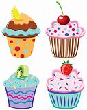vector cupcakes with fruits