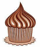 vector chocolate cupcake