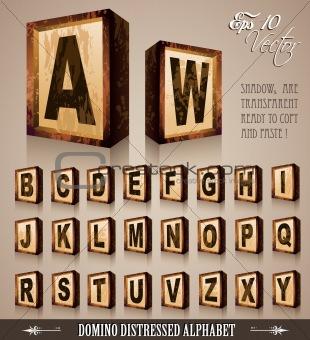 Vintage Domino Style Alphabet 3D