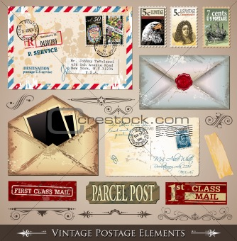Vintage Postage Design Elements