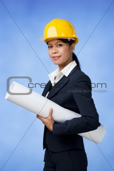 Woman in helmet