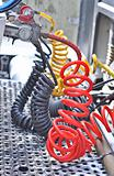 colorful Pneumatic hoses between the truck and trailer