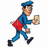 Cartoon mailman delivering mail