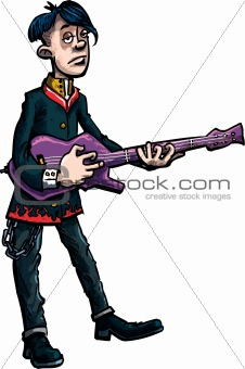 Cartoon emo rock singer with guitar