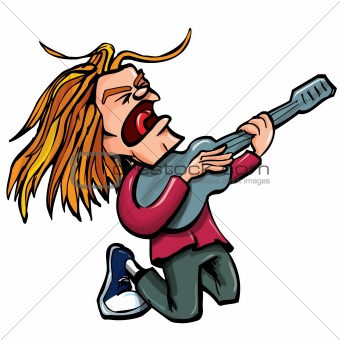 Cartoon rock singer with guitar