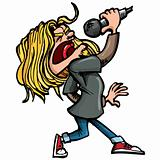 Cartoon rock singer with microphone