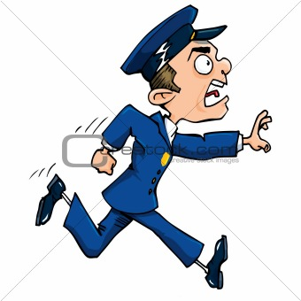 Cartoon policeman running