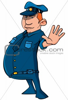 Cartoon policeman holding up his hand