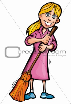 Cartoon cleaner with a broom