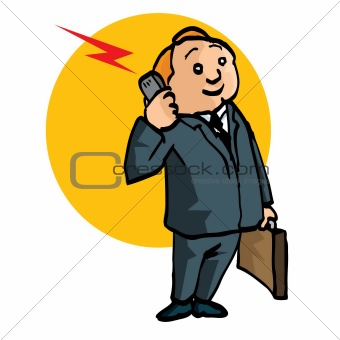 Cartoon salesman with briefcase and mobile phone