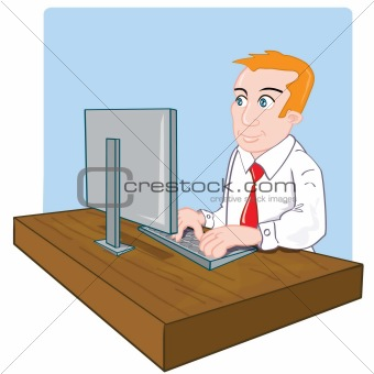 Cartoon office worker at his desk
