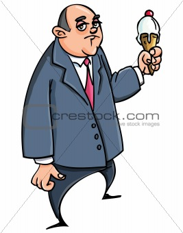 Cartoon businessman with ice cream